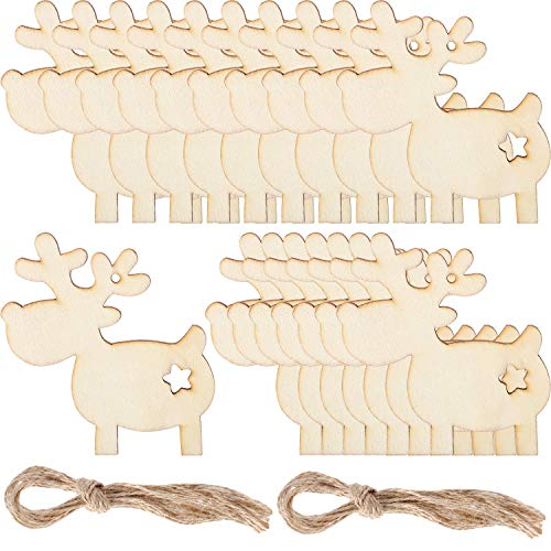 Pangda 20 Pieces Christmas Deer Reindeer Wooden Craft Ornament Hanging Pendant -