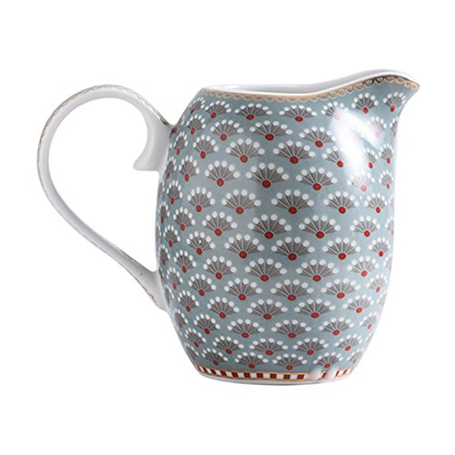 Village Vintage Style Ceramic Floral Coffee Milk Tea Creamer Pitcher Porcelain Country Honey Jug Sauce Pitcher Jug Vase Syrup Dressing Server Mug Cup with Handle for Kitchen Home Decor Gift