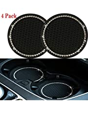 Bling Auto Cup Insert Coasters, 2.75 inch Silicone Anti Slip Crystal Rhinestone Car Coaster Car Interior Accessories, Crystal Cup Pad Mat Leaking-Proof Car Accessories. (Silver)