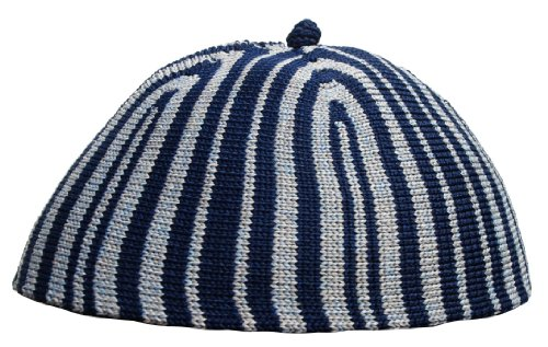 Price comparison product image Kids Kufi - Stretchable One-size Dark Blue & Grey Striped Children's Kufi Skull Cap