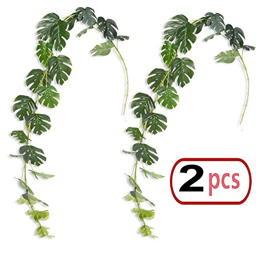2pcs 6.6ft/Piece Artificial Greenery Palm Leaves Vines Tropical Garland Fake Ivy Palm Frond Plant Hanging Vines Artificial Plants Greenery Flowers Vine Garland for Wedding Backdrop Arch Wall Decor (Palm Vine)