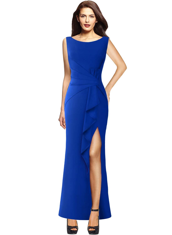 18c03079c25a VFSHOW Womens Ruched Ruffles High Split Formal Wedding Party Maxi Dress 140  BLU 3XL