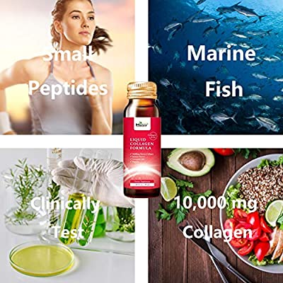 Heivy Liquid Collagen Supplement, Collagen Drink, Collagen Peptides, Hydrolyzed Marine Collagen,Glowing Hair Skin and Nails,10,000mg Marine Collagen,with Jasmine Extract Coenzyme Q10 Piperine, 1 Box