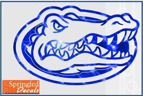 Logo Truck Window - Florida Gators BLUE MIRROR VINYL GATOR HEAD LOGO 20