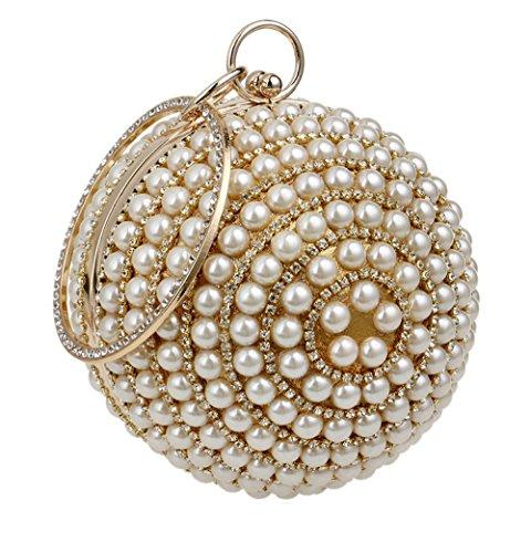 Party Diamante Purse Clubs Bag Handbag Evening Ladies Bag Clutch Wedding Spherical Pearl Gold Prom Shoulder Bridal Gift For Glitter Women Ezaq6Yxwp