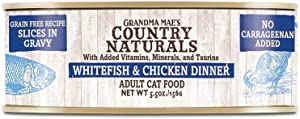 Grandma Mae's Country Naturals 24 Can Case of Whitefish and Chicken Slices in Gravy Canned Cat Food, 2.8 Ounces each, Grain-Free Pate