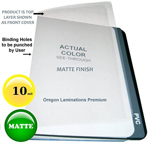 Matte Clear Plastic Binding Covers 10 Mil Report cover Sheets 8-1/2 x 11 inch Qty 25 (11 Unpunched 25 Covers)