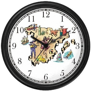 Map of Spain with Icon & Landmarks Spain Theme Wall Clock by WatchBuddy Timepieces (Hunter Green Frame) by WatchBuddy