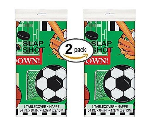 2 Pk Classic Sports Plastic Tablecloth, 84 x 54 -