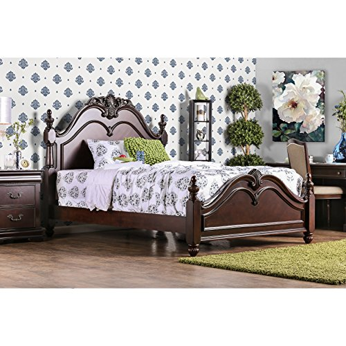 Furniture of America Bastillina English Style Cherry Four Post Bed Queen