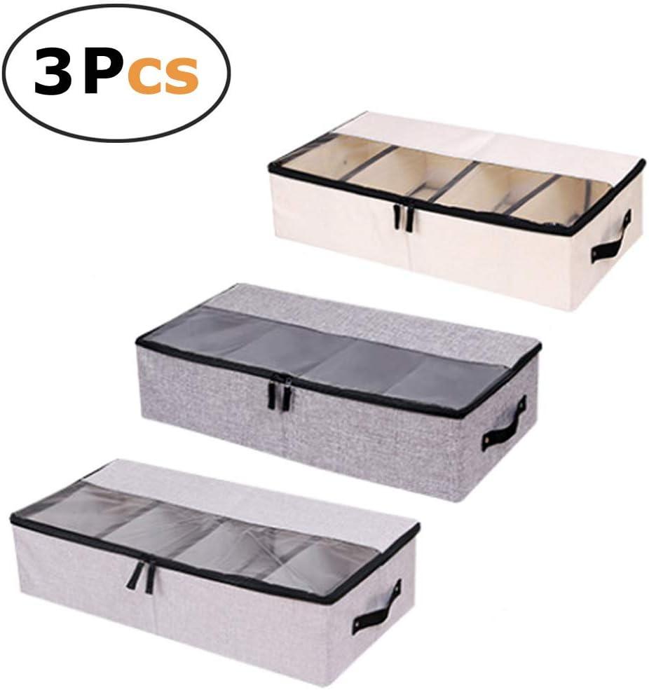 pet-lifeeling Ropa Zapatos Organizador Multifunción Plegable Debajo de la Cama Caja de almacenaje con a Prueba de Polvo Tapa 4Compartimento