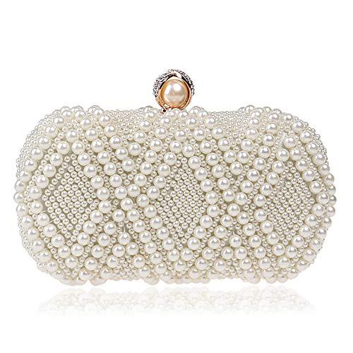 Edith qi Pearl Clutch Evening Bags Full Beaded Handbag for Wedding Parites Prom