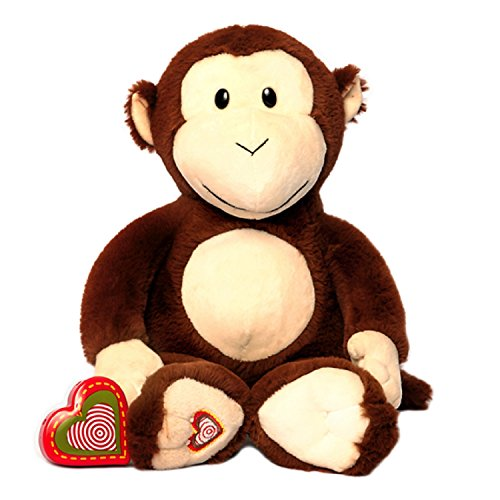 My Baby's Heartbeat Bear - Monkey Stuffed Animal w/ 20 sec Voice Recorder - Monkey