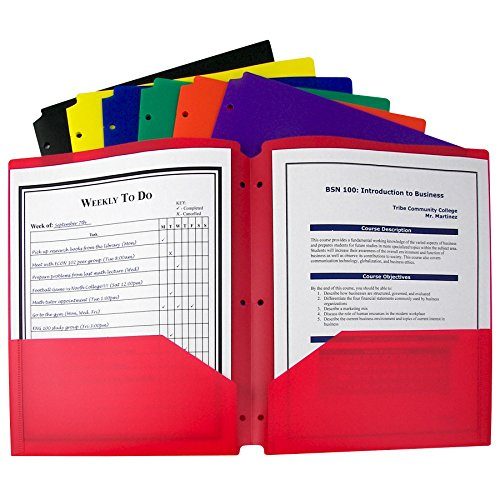 C-Line Two-Pocket Heavyweight Poly Portfolio with 3-Hole Punch, Assorted Colors, Box of 36 (33930-36)