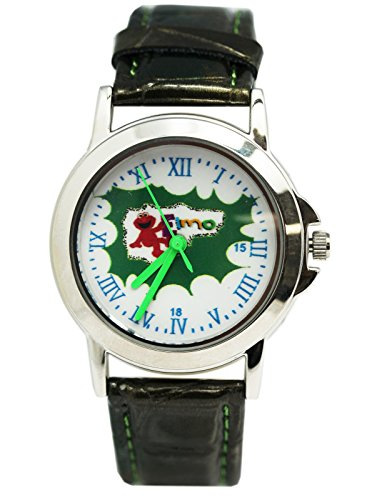(Elmo Green and Gold Colored Band With Red Roman Numerals Analog Watch (25mm))