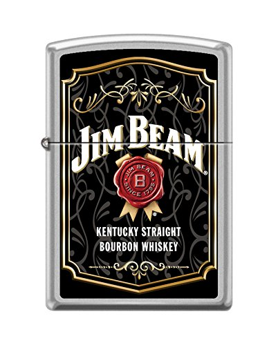 (Zippo Jim Beam Label Satin Chrome Pocket Lighter)