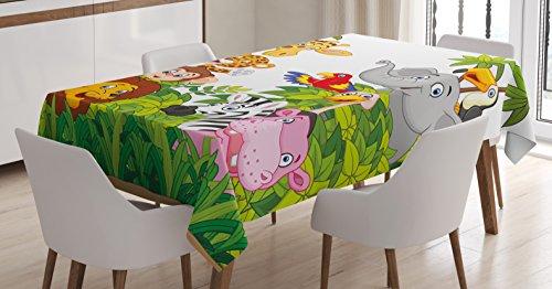 Ambesonne Nursery Tablecloth, Cartoon Style Zoo Animals Safari