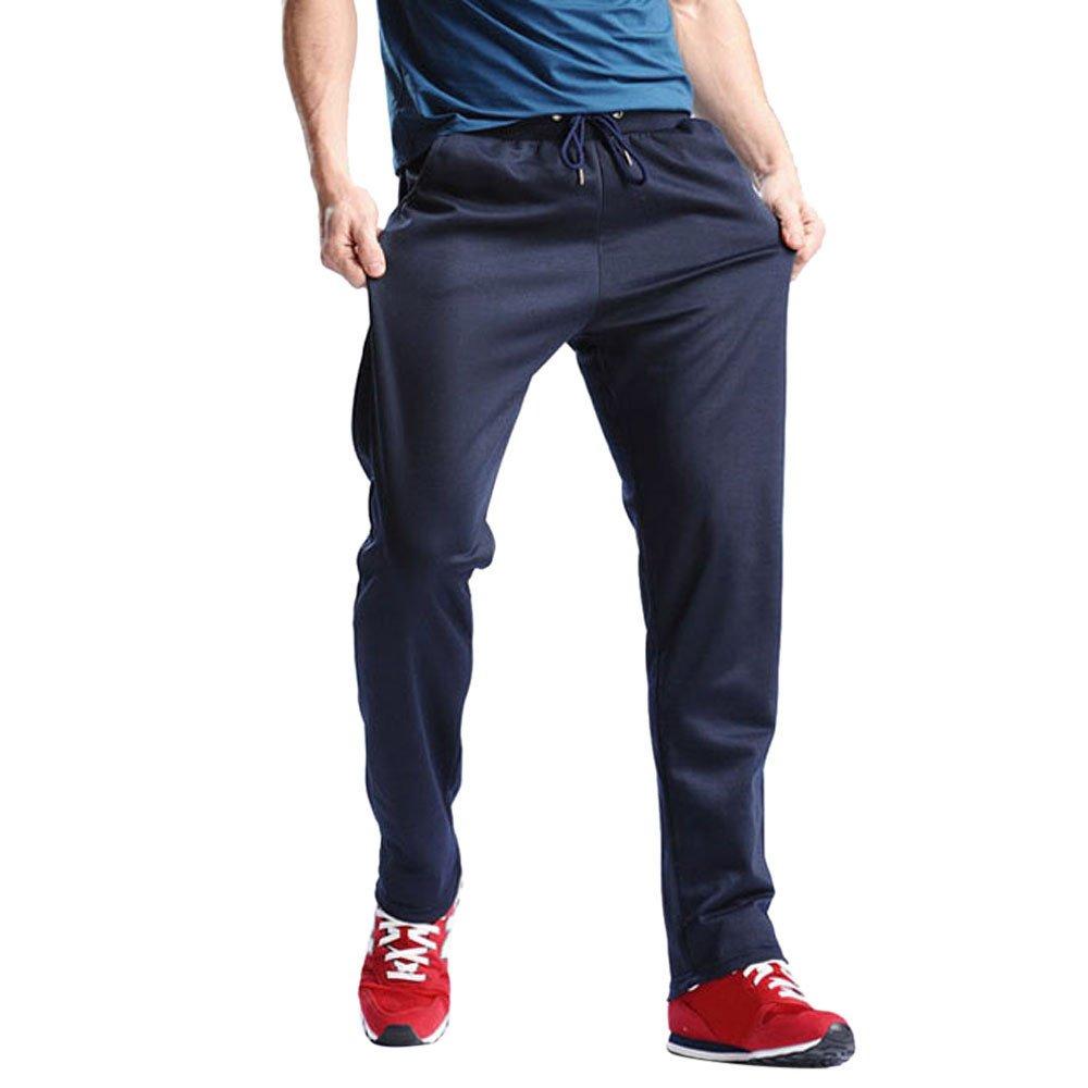 Hunzed Men【Cotton Loose Sweatpants】Men's Joggers Open Bottom Light Weight Jersey Pants (4XL, Dark Blue)