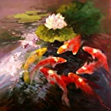 Oil Painting 'Carps In Lotus Pond', 16 x Review and Comparison