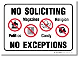 A84-167-4VL - (4 Pack) No Soliciting No Exceptions Decal Sign - 7