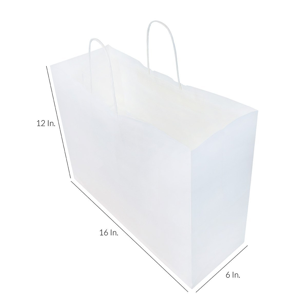 250pcs White Natural Kraft Mechandise Shopping Bag 65# Vogue, Natural White Paper Shoppers,16 x 6 x 12 1/2'' ~250 Bags-~ by SuitEase (Image #2)