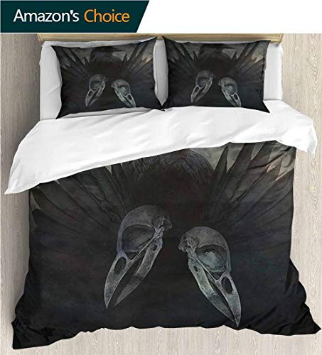 Home Duvet Cover Set,Box Stitched,Soft,Breathable,Hypoallergenic,Fade Resistant Print Quilt Cover Set White Queen Pattern Bedding Collection-Gothic Mystic Crow Spirit Wings (90
