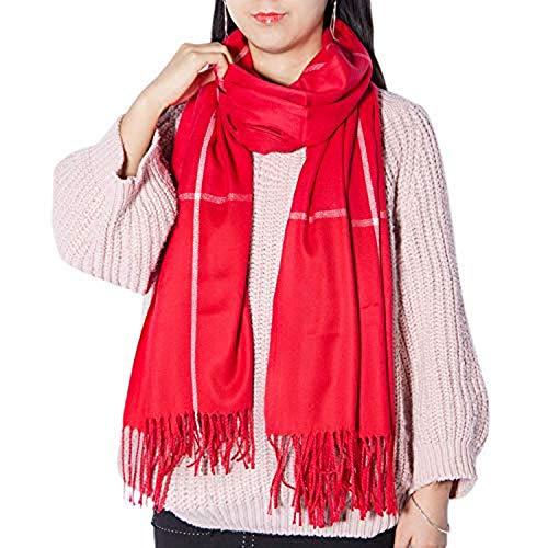 Women's Long Plaid Chunky Oversized Big Warm Scarf Tartan Wrap Plaid Shawl - Long Stripe Scarf Knit