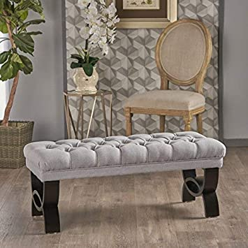 Christopher Knight Home 299602 Living Reddington Light Grey Tufted Fabric Ottoman Bench, 17.25 inches deep x 41.00 inches Wide x 16.75 inches high,