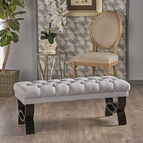 Christopher Knight Home Living Reddington Light Grey Tufted Fabric Ottoman Bench, 17.25 inches deep x 41.00 inches wide x 16.75 inches high (Settee Leather Red)