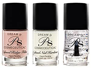 PS Polish Professional Nail Polish Set, Nail Treatment 3 Pack Includes - Top Coat, Ridge-Filler, Nail Hardener and Strengthener, Safe, Non-Toxic, Best Polishes for Manicure, Pedicure - MSRP $45