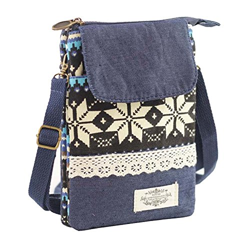 Amazon Prime Deal Sale 2017-Cross Body Cell Phone Shoulder Pouch Bag for iPhone 7 6S 6 SE, Welegant Retro Bohemia Mini Smartphone Clutch Wallet Purse (Style A, Navy Blue)