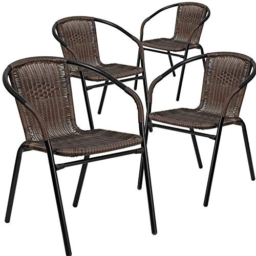 (Simple Interior Stacking Patio Dining Chair Set of 4 - Black Powder-Coated Steel Frame Wrapped in Woven Rattan - Designed for Indoor and Outdoor Use (Dark Brown))