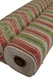 "Mesh roll, 20"" x 10 Yards, White with Red and Green metallic stripes"