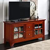 "Walker Edison 53"" Wood TV Stand Console with Storage Drawers, Brown"