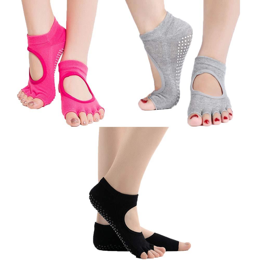 Byinns Women Yoga Socks Non-Slip Cotton Socks with Grips for Pilates Barre Dance- Multiple Colors