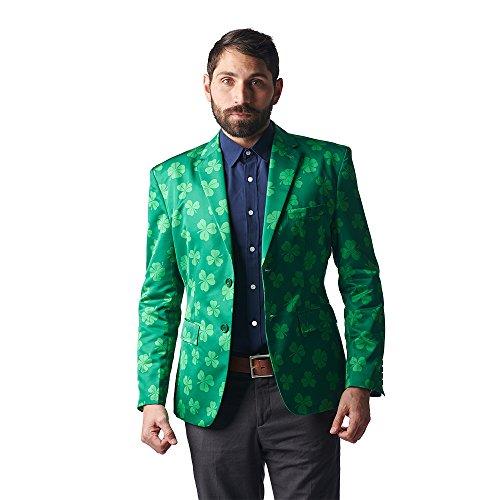 Stir Clothing Co. Get Lucky Irish Shamrock ST Patricks Day Blazer ,Green,Size 44
