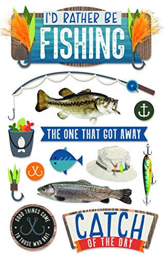 Paper House Productions Rather Be Fishing 3D Stickers, 3-Pack