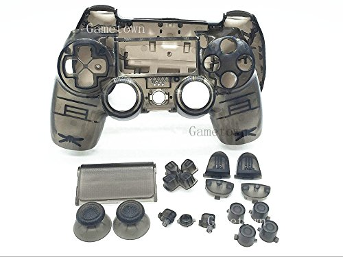 (New Replacement Full Housing Shell Cover Case Protective Hard Skin Kits With Buttons Set for Sony Playstation 4 PS4 Dualshock 4 Wireless controller -Transparent)