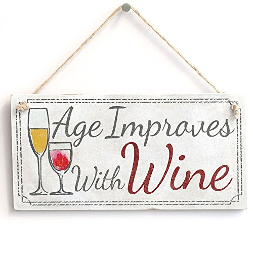 Meijiafei 'Age Improves with Wine' Funny Sign - Rustic PVC Door Sign/Plaque 10
