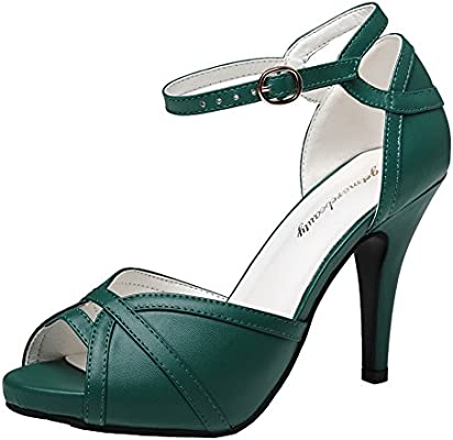 Getmorebeauty Women S Dark Green St Patrick Shoes Peep Toes Buckle