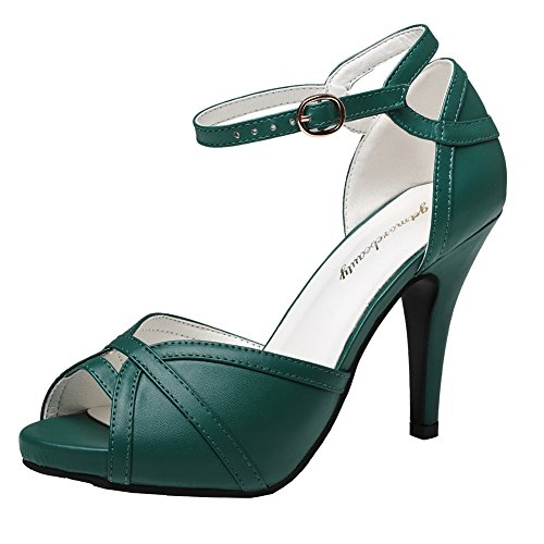 - getmorebeauty Women's Dark Green St Patrick Shoes Peep Toes Buckle Dress Heeled Sandals 9 B(M) US