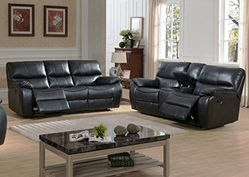 Evan Transitional Reclining Sofa and Loveseat w/ Storage Console