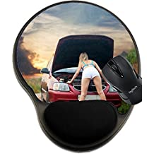 MSD Natural Rubber Mousepad wrist protected Mouse Pads/Mat with wrist support design: 10313583 Sexy girl looking under the car hood outdoor