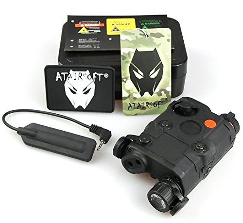 ATAIRSOFT (Airsoft Version) PEQ-15 style AN-PEQ-15 Upgrade Version Battery Box Red Laser Sight + LED Flashlight (Black) for AEG GBB CQB (Peq Box)