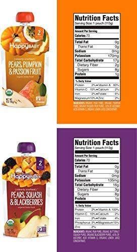 Happy Baby Clearly Crafted Stage 2 Organic Baby Food Variety Sample - Pack of 20