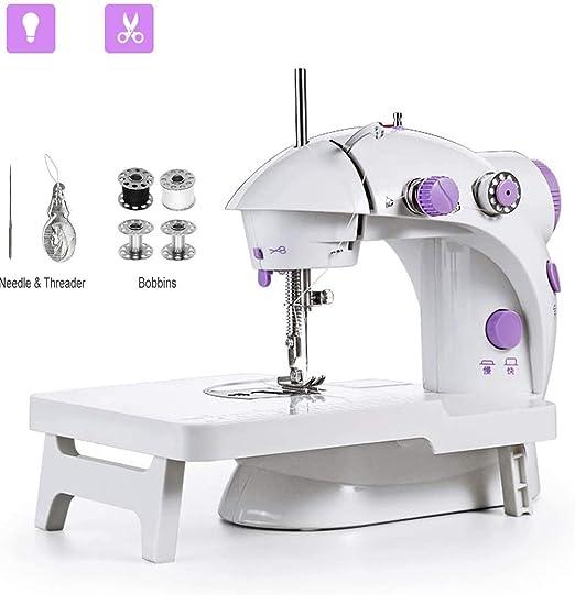 fgfh Mini máquina de coser hogar máquina de coser eléctrica máquina de coser portátil DIY pequeño trabajo máquina de coser portátil de dos velocidades con mesa de extensión: Amazon.es: Hogar