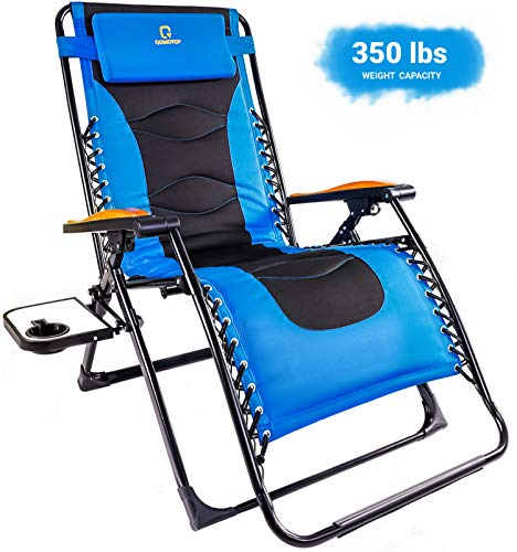 OT QOMOTOP Zero Gravity Lounge Chair, Oversize XL Heavy Duty Recliner Padded Adjustable Folding Lawn Chair for Deck Patio Pool Beach with Cup Holder and Headrest Support 350 lbs