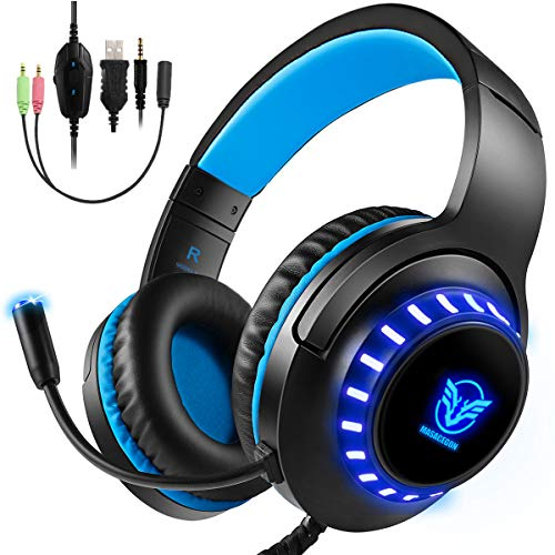 (Bovon Xbox One Headset Stereo Gaming Headset for PS4, PC, Lightweight Over Ear Headphones with LED Light, Noise Canceling Mic, Adjustable Headband, Soft Memory Earmuffs for Nintendo Switch)