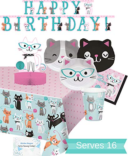 (Cat Party Supplies and Decorations - Kitty Cat Plates Cups Napkins for 16 People - Includes Banner, Tablecloth and Centerpiece - Perfect Cat Birthday Party Decorations!)