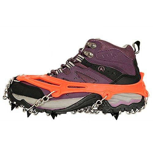 Griffe 8 Zähne Krallen Steigeisen Anti-Rutsch-Universal Stretch Schuhe Abdeckung Edelstahl Kette Outdoor Ski Eis Schnee Wandern Klettern (2 Stück),Orange Orange